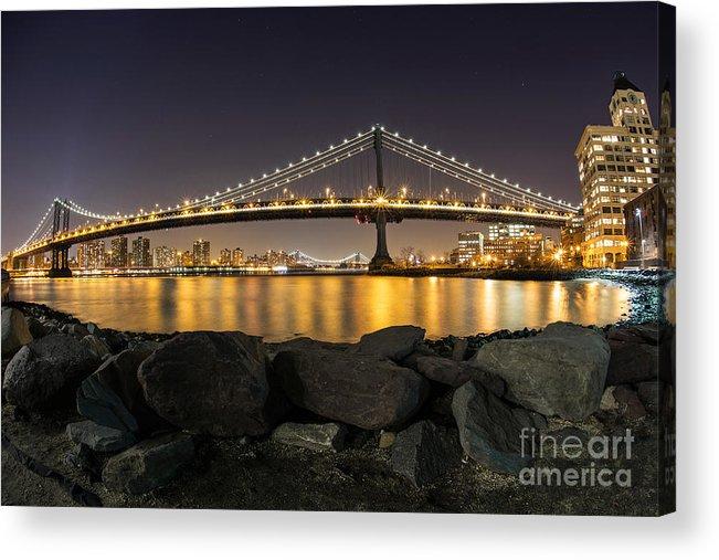 Manhattan Acrylic Print featuring the photograph Manhattan Bridge Evening Reflections by Daniel Portalatin Photography
