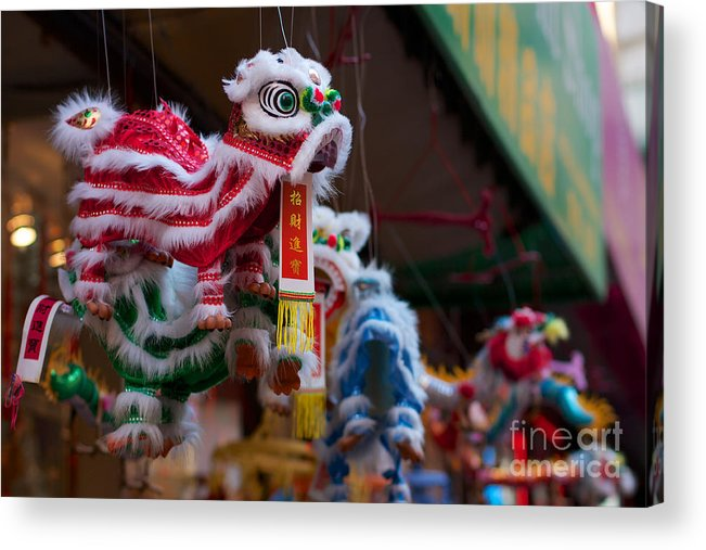 America Acrylic Print featuring the photograph Manhattan Chinatown Decorations by Jannis Werner