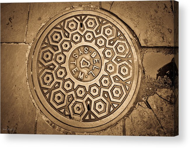 Manhole Acrylic Print featuring the photograph Manhole Mandala by Shelly Stallings