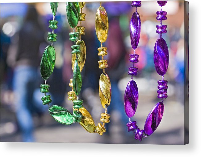 mardi Gras Beads Acrylic Print featuring the photograph Mardi Gras Beads by Ray Devlin