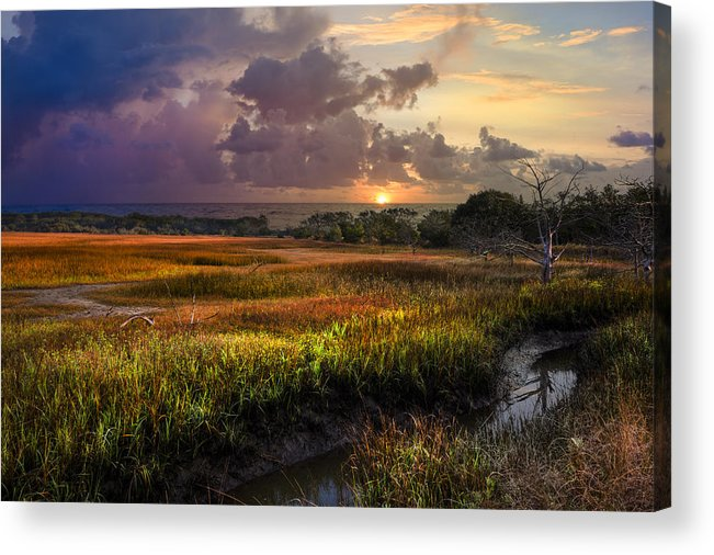 Clouds Acrylic Print featuring the photograph Marsh At Sunrise by Debra and Dave Vanderlaan