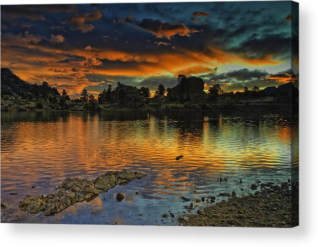 Colorado Acrylic Print featuring the photograph Mary's Lake Sunrise by Tom Wilbert