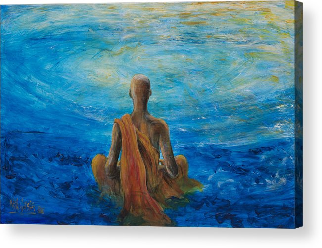 Monk Acrylic Print featuring the painting Meditation by Nik Helbig