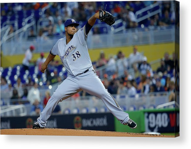 American League Baseball Acrylic Print featuring the photograph Milwaukee Brewers V Miami Marlins by Chris Trotman