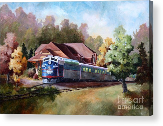 Train Fall train Painting Station Building Structure Minnesota train Station Oil Painting Original Acrylic Print featuring the painting Minnesota Zephyr by Brenda Thour