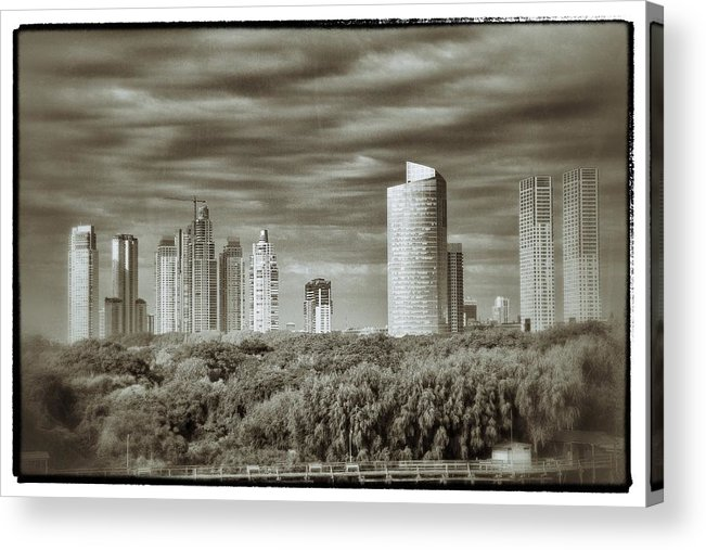 Buenos Aires Acrylic Print featuring the relief Modern Buenos Aires Black And White by For Ninety One Days