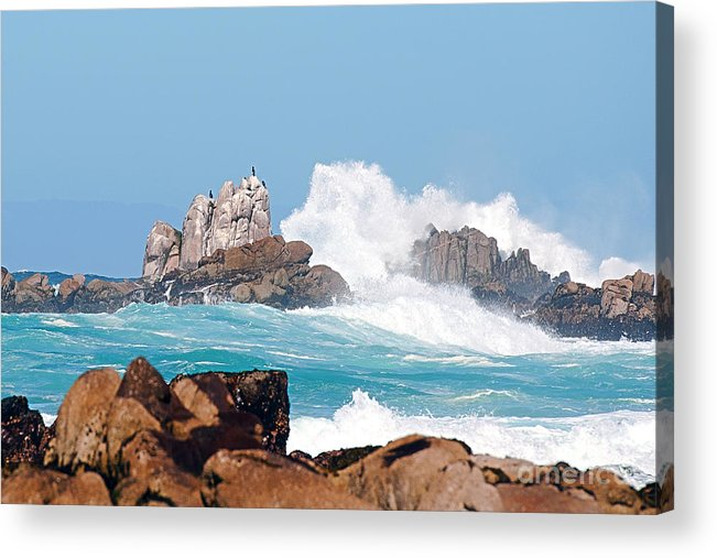 Monterey Bay Acrylic Print featuring the photograph Monterey Bay Waves by Artist and Photographer Laura Wrede