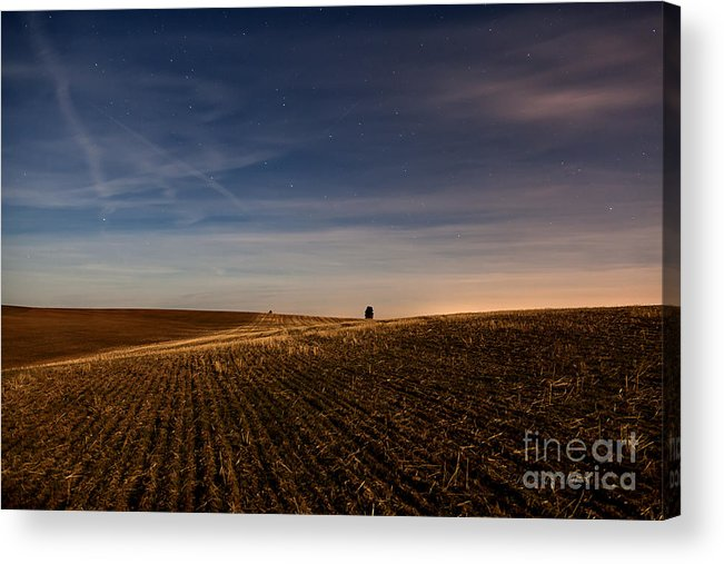 Palouse Acrylic Print featuring the photograph Moon Lit Night On The Palouse by Beve Brown-Clark Photography