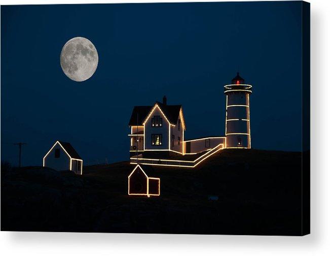 Atlantic Ocean Acrylic Print featuring the photograph Moon Over Cape Neddick by Guy Whiteley
