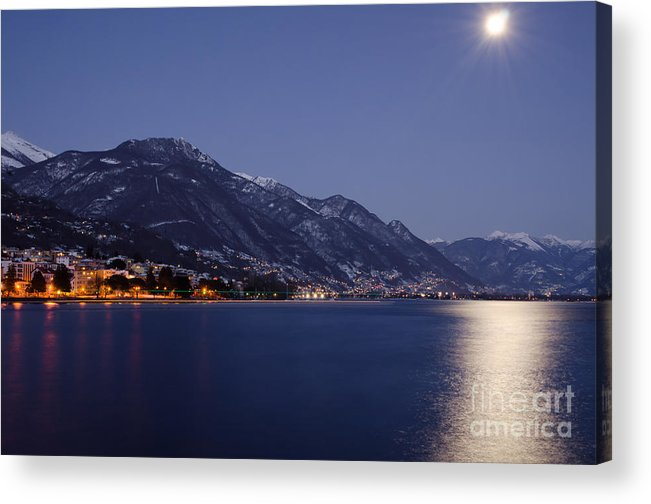 Moon Acrylic Print featuring the photograph Moonlight Over A Lake by Mats Silvan