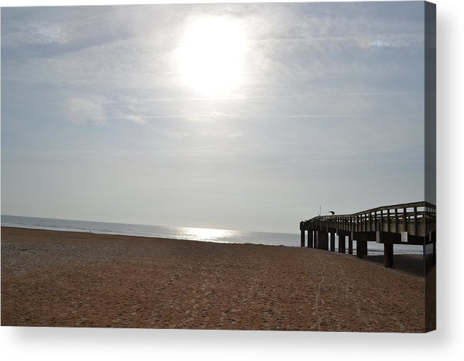 Pier Acrylic Print featuring the photograph Morning At The Beach 002 by George Bostian