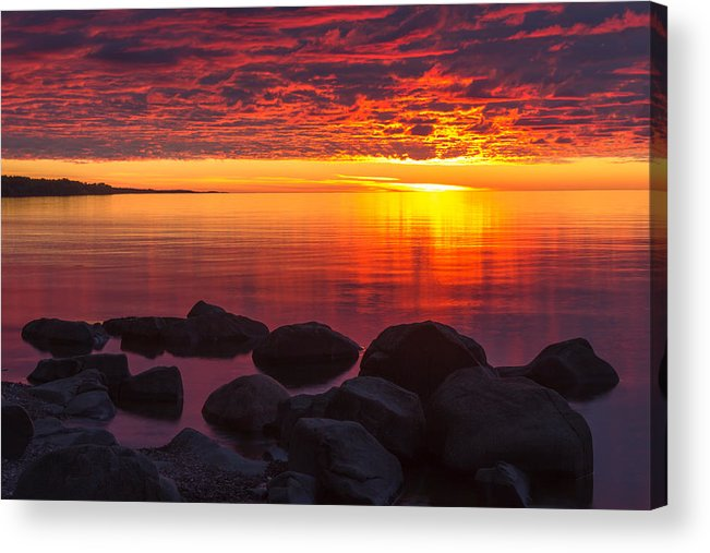 morning Glow lake Superior lake Superior North Shore Nature nature Cards Duluth brighton Beach Sunrise Dawn great Lake mary Amerman Acrylic Print featuring the photograph Morning Glow by Mary Amerman