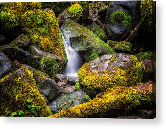 Rocks Acrylic Print featuring the photograph Mossy Waterfall by Kevin Clifford