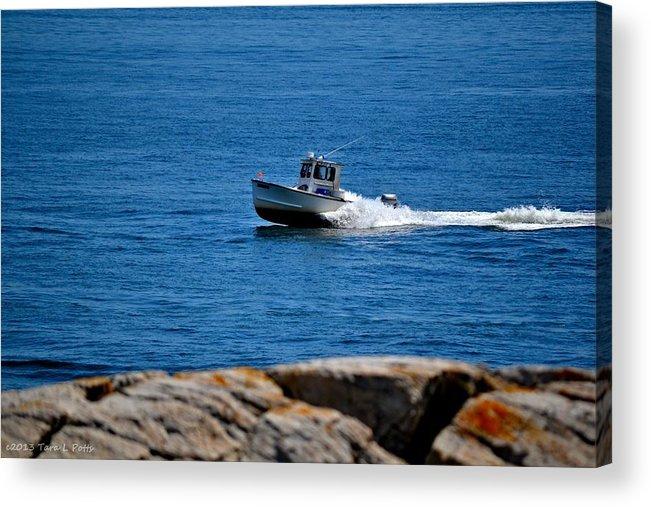 Boat Acrylic Print featuring the photograph Motoring On Casco Bay by Tara Potts
