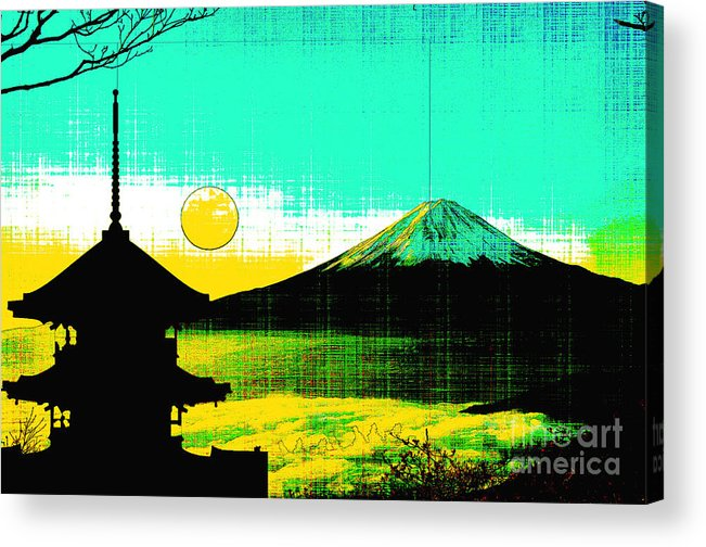 Mount Fiji Acrylic Print featuring the mixed media Mount Fiji by Celestial Images