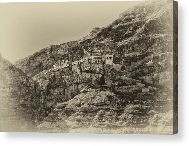 Israel Acrylic Print featuring the photograph Mount Of The Temptation Monestary Jericho Israel Antiqued by Mark Fuller