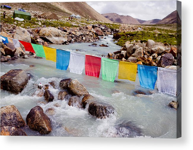 Mountain Acrylic Print featuring the photograph Mountain River And Buddhist Flags Lungta by Raimond Klavins