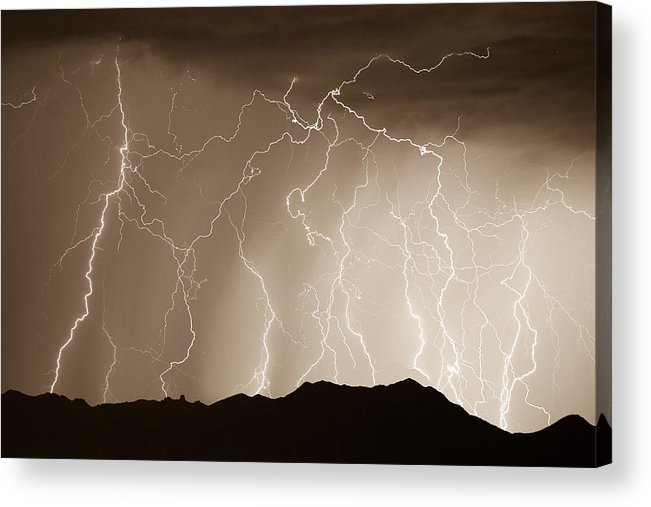 Lightning Acrylic Print featuring the photograph Mountain Storm - Sepia Print by James BO Insogna