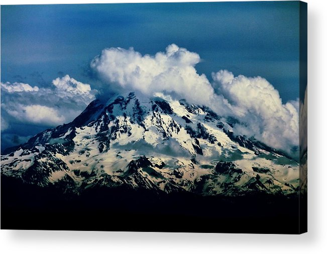 Mount Rainier Acrylic Print featuring the photograph Mountainpuffs by Benjamin Yeager