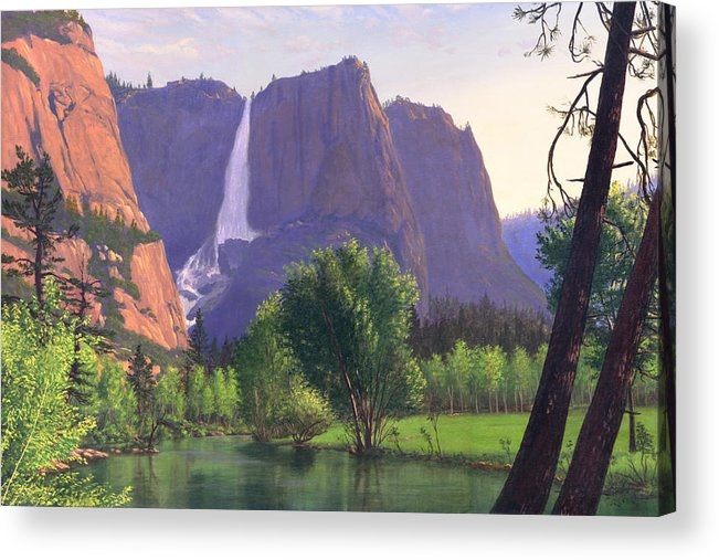Waterfall Acrylic Print featuring the painting Mountains Waterfall Stream Western Mountain Landscape Oil Painting by Walt Curlee