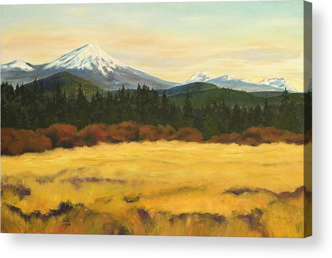 Landscapes Acrylic Print featuring the painting Mt. Bachelor by Donna Drake