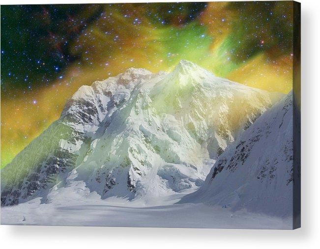 Alaska Acrylic Print featuring the photograph Mt. Hunter Aurora # Da 129 by Dianne Roberson
