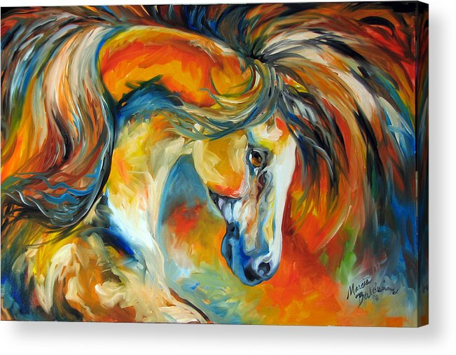Equine Acrylic Print featuring the painting Mustang West by Marcia Baldwin