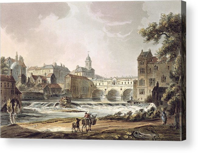 Print Acrylic Print featuring the drawing New Bridge, From Bath Illustrated by John Claude Nattes