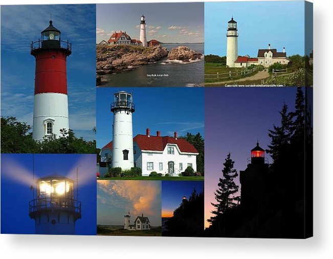Lighthouse Acrylic Print featuring the photograph New England Lighthouse Collection by Juergen Roth