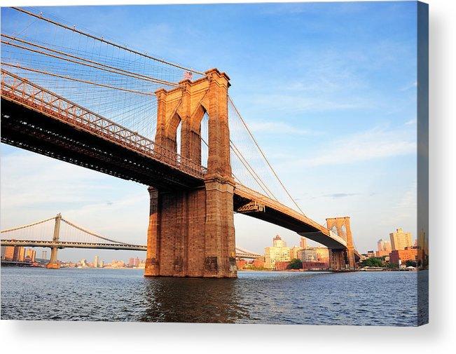 New York Acrylic Print featuring the photograph New York City Manhattan Brooklyn Bridge by Songquan Deng