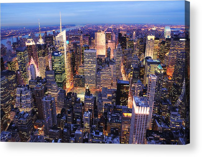 New York City Acrylic Print featuring the photograph New York City Manhattan Times Square Night by Songquan Deng