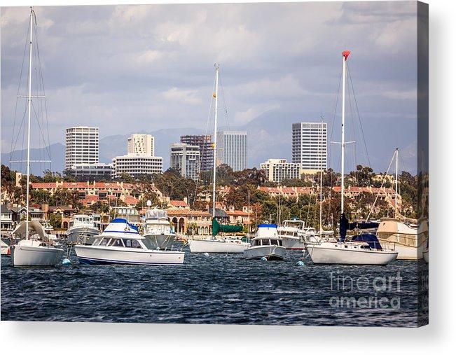 America Acrylic Print featuring the photograph Newport Beach Skyline by Paul Velgos