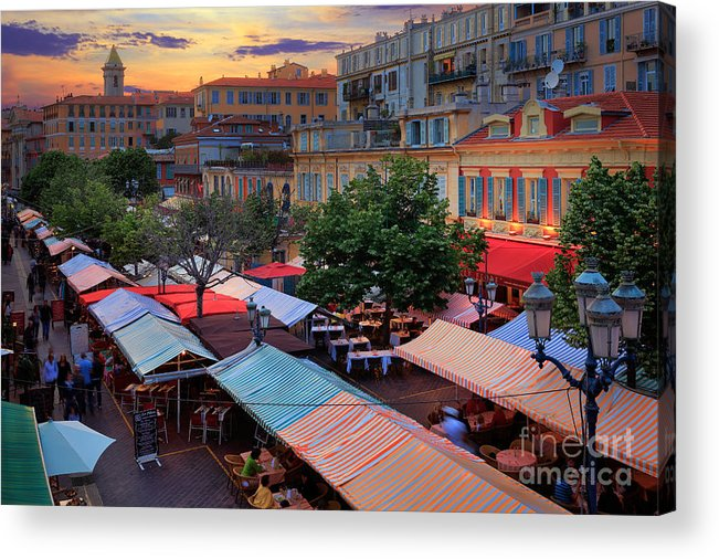 Cote D'azur Acrylic Print featuring the photograph Nice Flower Market by Inge Johnsson