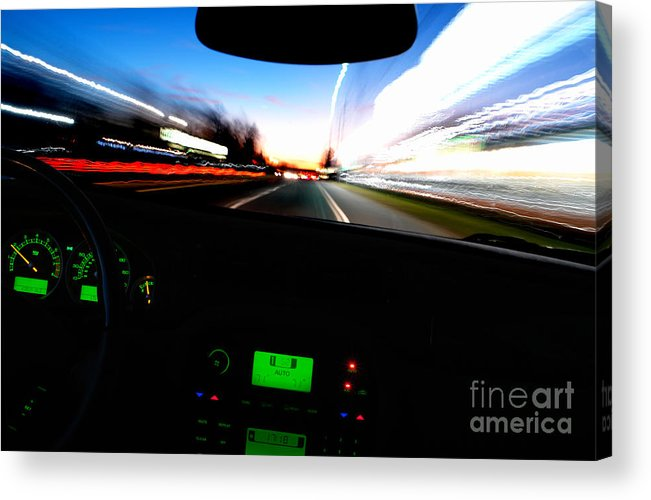 Car Acrylic Print featuring the photograph Night Ride by Olivier Le Queinec