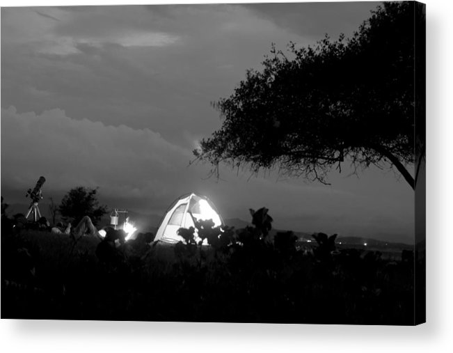 Horizontal Acrylic Print featuring the photograph Night Time Camp Site by Kantilal Patel