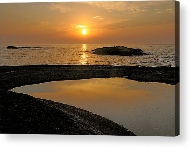 November Sunrise Acrylic Print featuring the photograph November Sunrise II - Lake Superior by Sandra Updyke