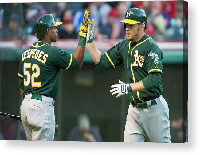 Yoenis Cespedes Acrylic Print featuring the photograph Oakland Athletics V Cleveland Indians by Jason Miller