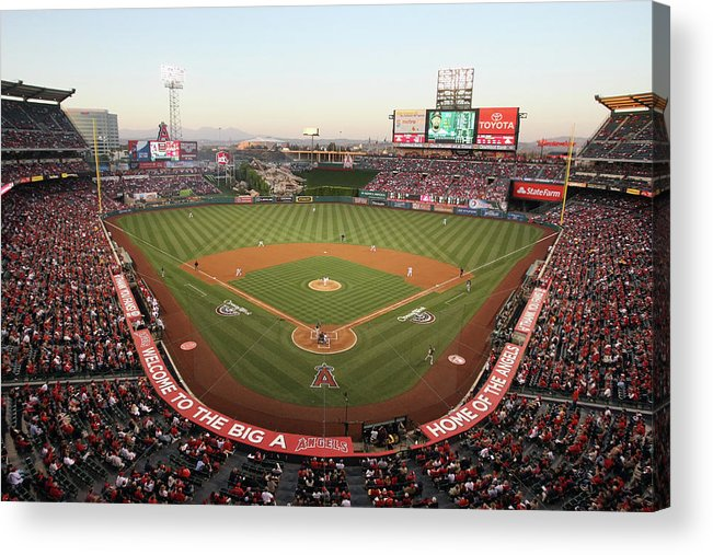 American League Baseball Acrylic Print featuring the photograph Oakland Athletics V Los Angeles Angels by Jeff Gross