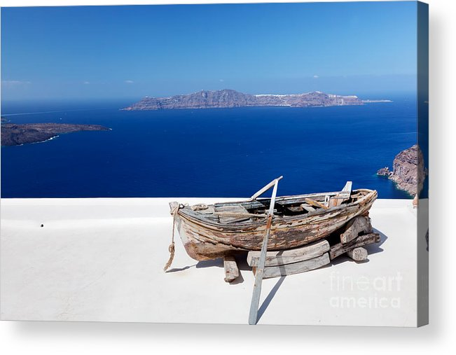 Santorini Acrylic Print featuring the photograph Old Boat On The Roof Of The Building On Santorini Greece by Michal Bednarek