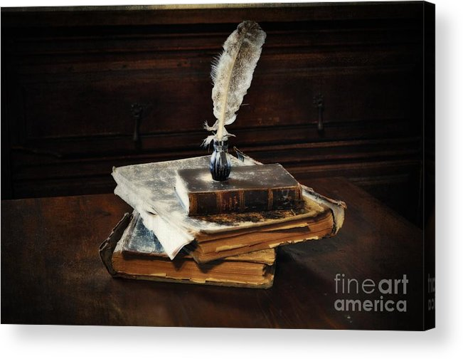 Old Books And A Quill Acrylic Print featuring the photograph Old Books And A Quill by Mary Machare