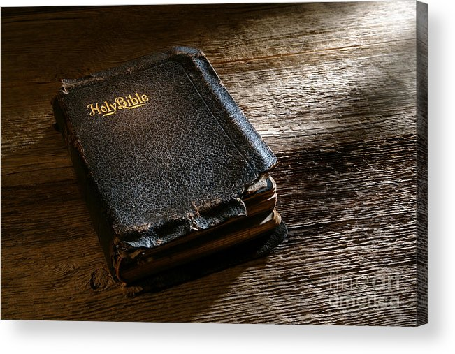 Holy Bible Acrylic Print featuring the photograph Old Holy Bible by Olivier Le Queinec