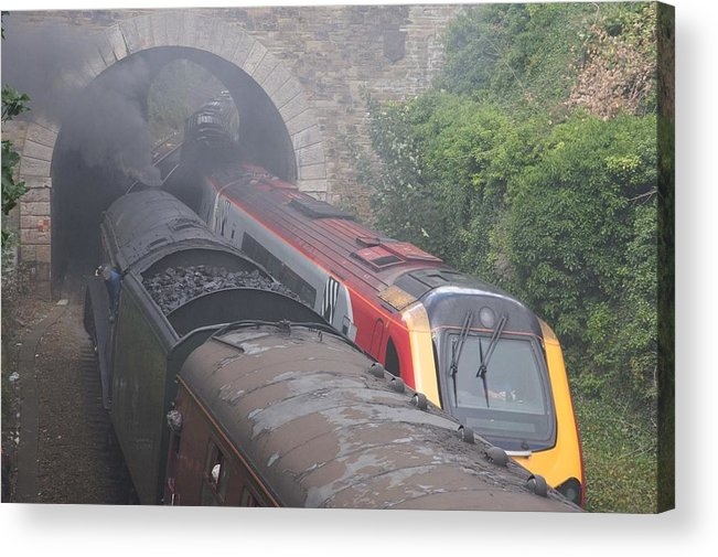 Trains Acrylic Print featuring the photograph Old Meets New. by Christopher Rowlands