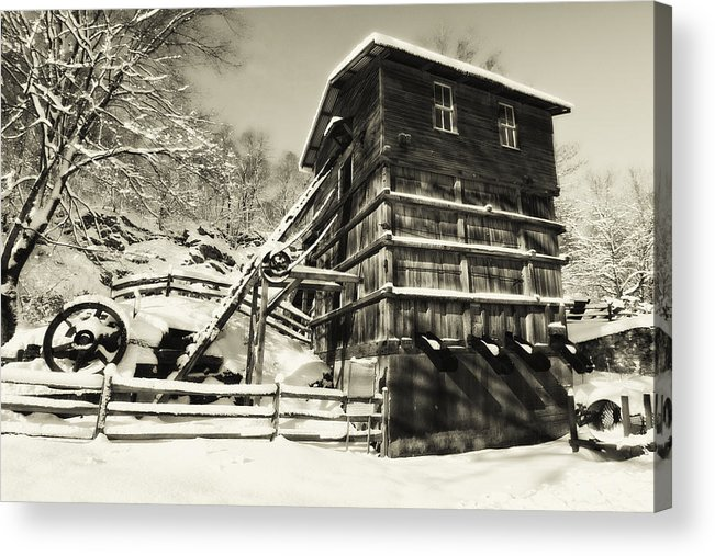 Scenic Acrylic Print featuring the photograph Old Snow Covered Quarry Mill by George Oze