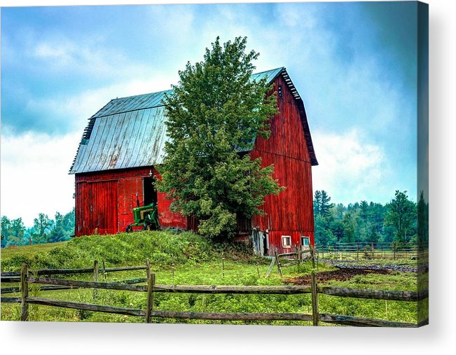 Red Barn Acrylic Print featuring the photograph Old Wooden Barn by Phil Deets