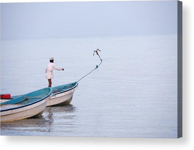 Omani Fisherman Throwing Anchor, Suwadi, Oman  Acrylic Print