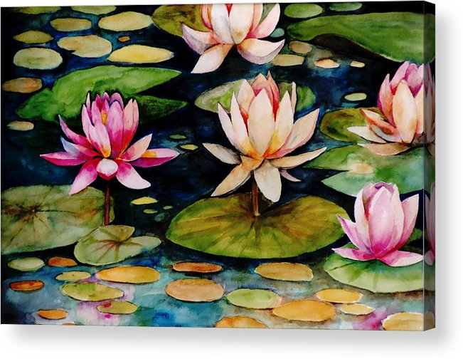 Lily Acrylic Print featuring the painting On Lily Pond by Jun Jamosmos