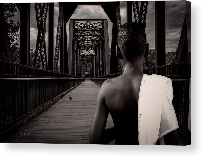 Bird Watching Acrylic Print featuring the photograph One Boy One Pigeon One Bridge by Bob Orsillo