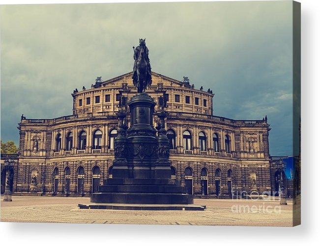 Dresden Acrylic Print featuring the pyrography Opera House In Dresden by Jelena Jovanovic