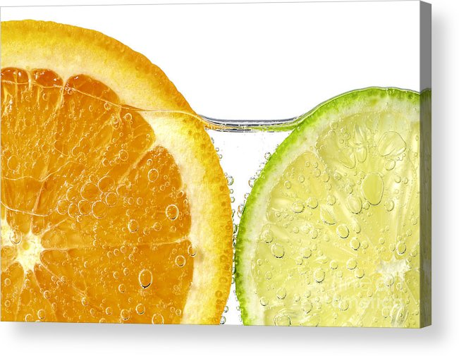 Orange Acrylic Print featuring the photograph Orange And Lime Slices In Water by Elena Elisseeva