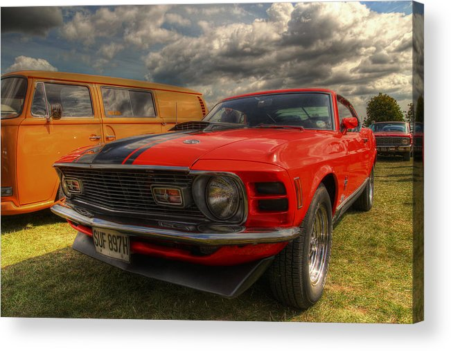 Ford Mustang Acrylic Print featuring the photograph Orange Mustang by Lee Nichols